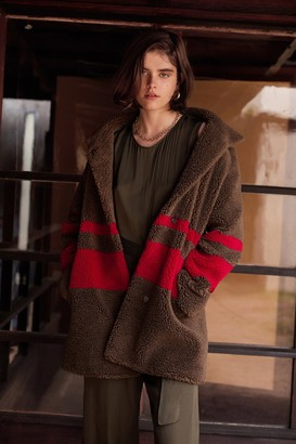 Velvet by Graham & Spencer Evian Stripe Oversized Sherpa Coat