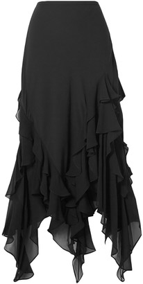 Michael Kors Collection Asymmetric Ruffled Silk-chiffon Skirt