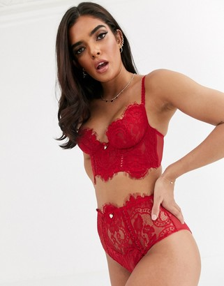 Lipsy Lonnie high waist lace knicker in red
