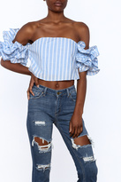luxxel Blue Stripe Crop Top
