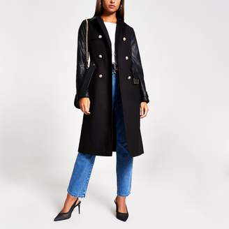 River Island Womens Black faux leather blocked trench coat