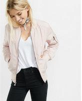 Express blush pink puffer bomber jacket