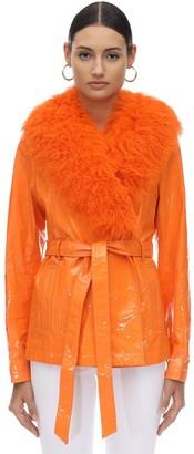Saks Potts Patent Leather & Shearling Jacket