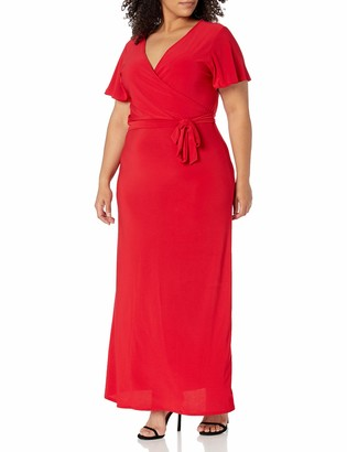 Star Vixen Women's Plus-Size Short Sleeve Faux Wrap Maxi