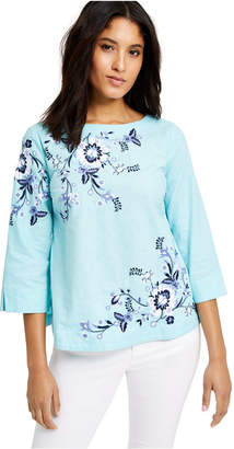 Charter Club Floral-Embroidery Top