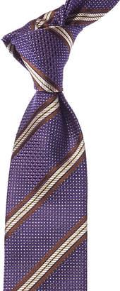 Canali Purple & Brown Stripe Silk Tie