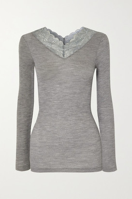 Hanro Karla Lace-trimmed Wool And Silk-blend Top - Gray