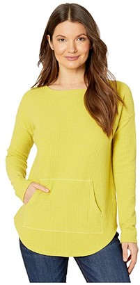 Lilla P Long Sleeve Textured Waffle Boatneck Top (Citrus) Women's Clothing