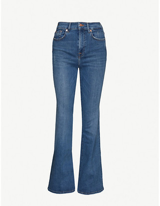 7 For All Mankind Lisha flared high-rise stretch-denim jeans