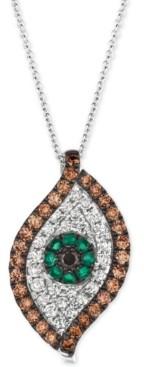 """LeVian Le Vian Costa Smeralda Emerald (1/8 ct. t.w.) & Diamond (1 ct. t.w.) Evil Eye 18"""" Pendant Necklace in 14k White Gold"""