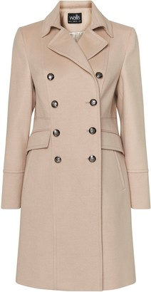 Wallis Nude Double Breasted Military Coat