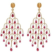 Gurhan 24K/22K/18K Yellow Gold & Platinum Ruby Chandelier Earrings