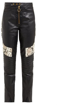 Marques Almeida Marques'almeida - Panelled Leather Biker Trousers - Womens - Multi
