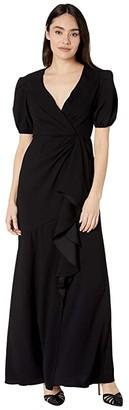 ML Monique Lhuillier Short Sleeve Crepe Gown w/ Ruffle Front (Jet) Women's Dress