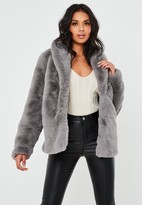 Missguided Gray Shawl Collar Faux Fur Coat