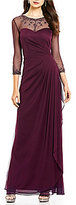 Xscape Evenings Beaded Illusion Neck Mesh 3/4 Sleeve Gown
