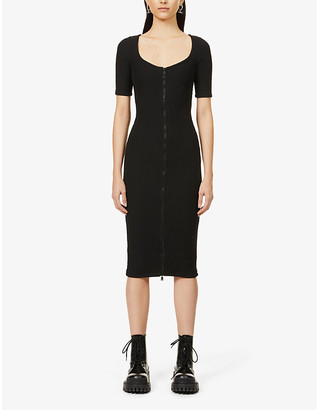Good American Zip-up stretch-cotton midi dress