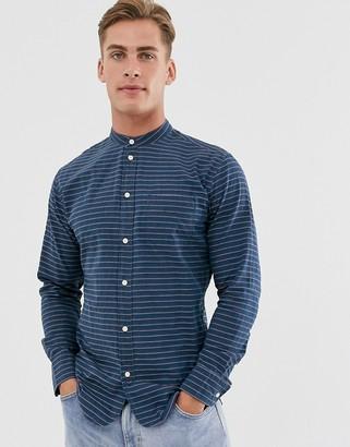 Selected stripe grandad collar shirt in blue