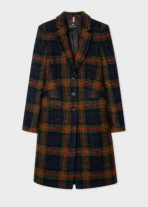 Women's Navy And Red Check Boucle Epsom Coat