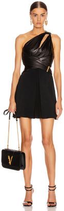 Versace One Shoulder Mini Dress in Black | FWRD