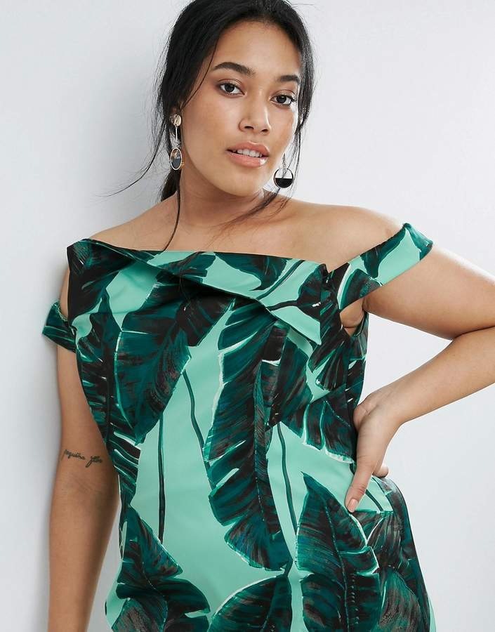 Asos Palm Leaf Hitchcock Midi Pencil Dress