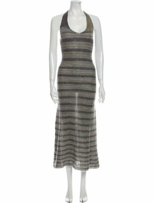 Jacquemus Striped Long Dress Grey
