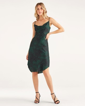 7 For All Mankind Satin Cowl Neck Slip Dress in Dark Green Python