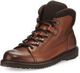 Ermenegildo Zegna Leather Hiking Boot with Wool Trim, Cognac