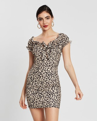 Missguided Leopard Print Milkmaid Bardot Mini Dress