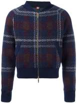 Thom Browne checked knit bomber jacket