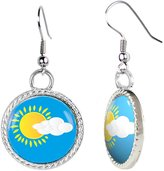 Arthwick Store Sun with Clouds Vector Illustration Earrings