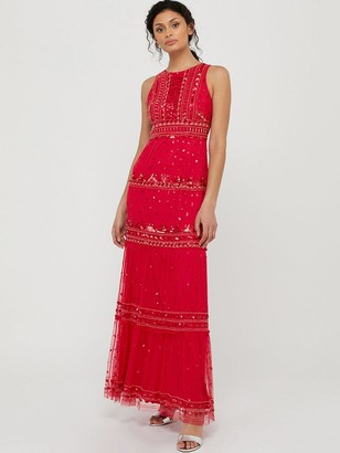 Monsoon Sai Embellished Recycled Poly Maxi Dress - Red