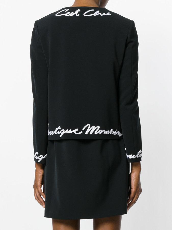 Moschino logo embellished cropped jacket