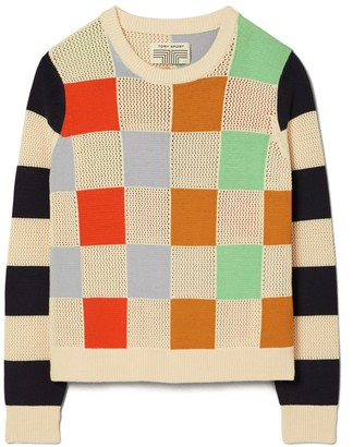 Tory Burch Patchwork Check Sweater