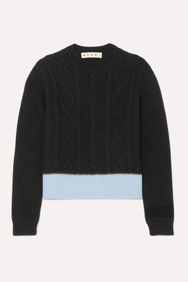 Marni Two-tone Cable-knit Sweater - Black