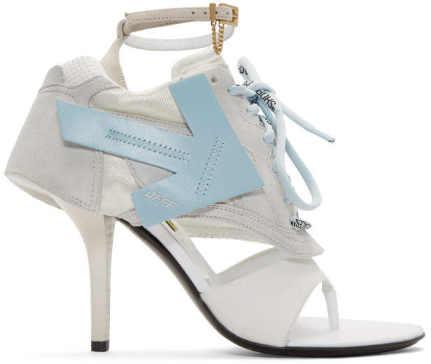 Off-White Grey and Blue Runner Heel Sandals