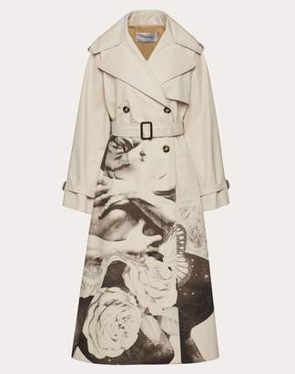 Valentino Undercover Print Gabardine Trench Coat Women Beige 100% Cotone 40