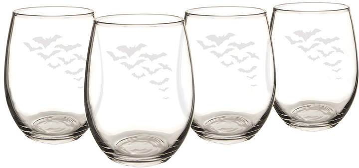 Cathy's Concepts Cathys Concepts Set Of 4 Colony Of Bats 21Oz Stemless Wine Glasses