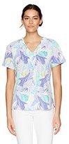 Alfred Dunner Women's Seashell Print Knit Top V Neck S/S