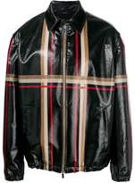 Fendi striped leather look jacket