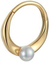 Pamela Love 6MM Floating Pearl Single Huggie Hoop Earring - Yellow Gold