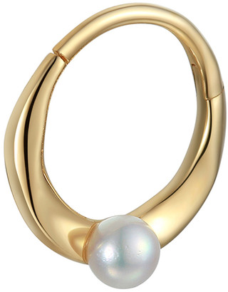 Pamela Love 6MM Floating Pearl Single Huggie Hoop Earring - Yellow Gold