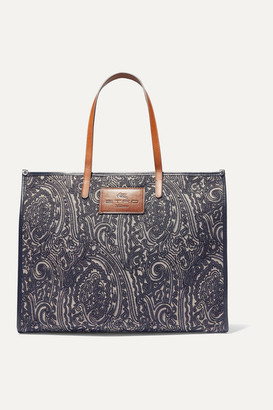 Etro Globetrotter Leather-trimmed Jacquard Tote - Blue