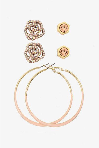 Torrid Gold & Coral Studs & Hoops Earring Set