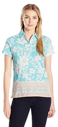 Caribbean Joe Women's Printed Slub Jersey Short Sleeve 5 Button Polo in Morning Breeze Floral Hibiscus Print