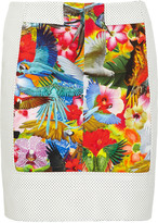 Lei perforated leather and printed mini skirt