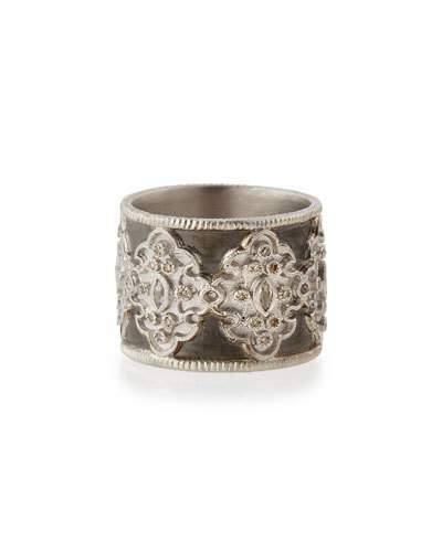 Armenta New World Midnight Wide Scroll Band with Diamonds