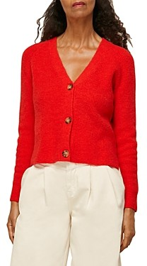 Whistles Rib Knit Button Front Cardigan