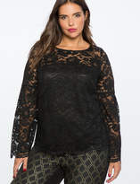 ELOQUII Lace Flare Sleeve Top