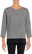 Karl Lagerfeld Paris Stripe Three-Button Top